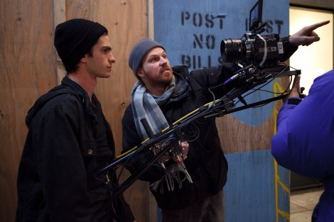 Director Marc Webb working with Andrew Garfield.